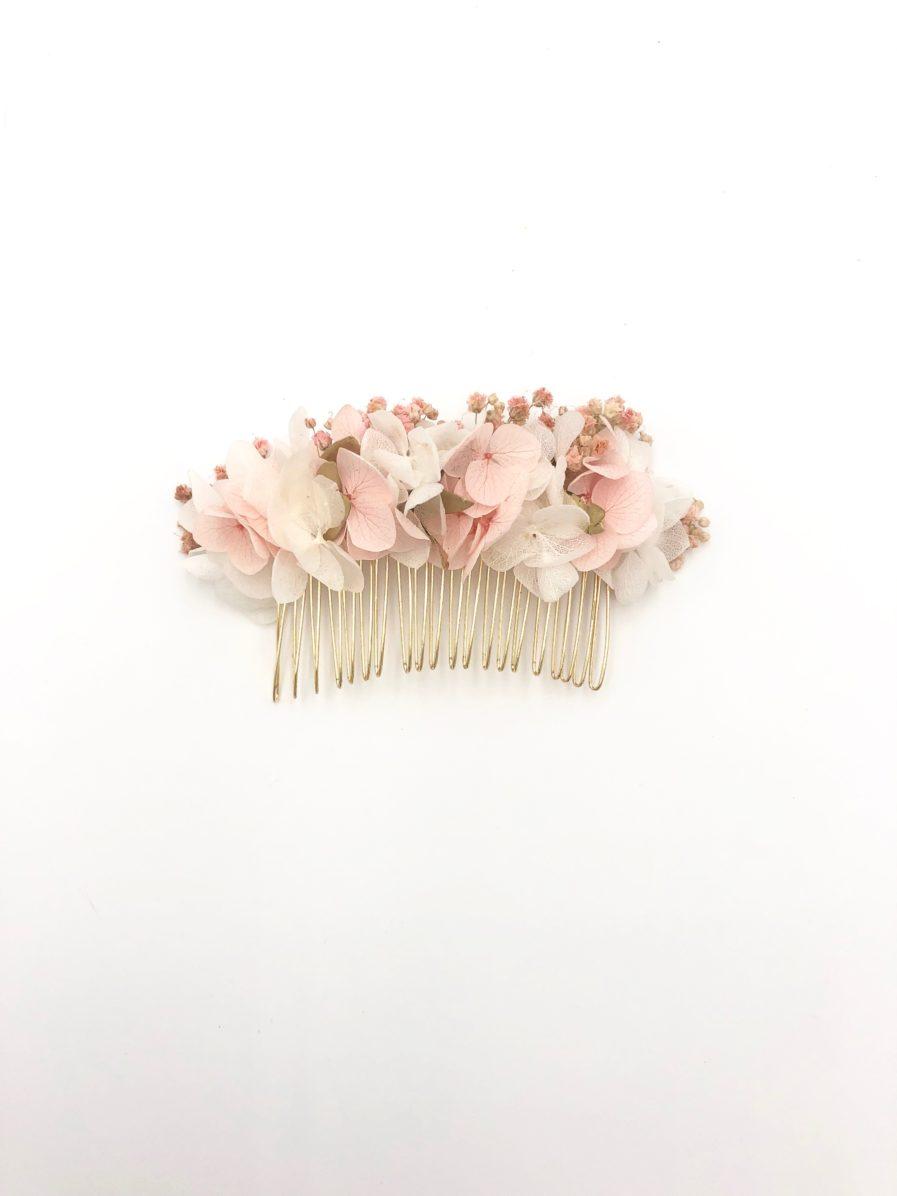 Peigne en fleurs stabilisées Candi doré - Collection Romantique