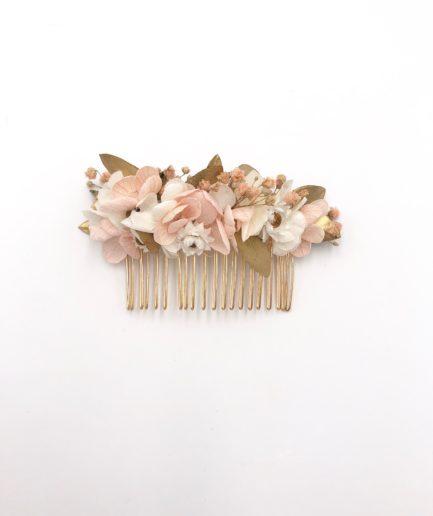 Peigne en fleurs stabilisées Candi doré avec hortensias roses