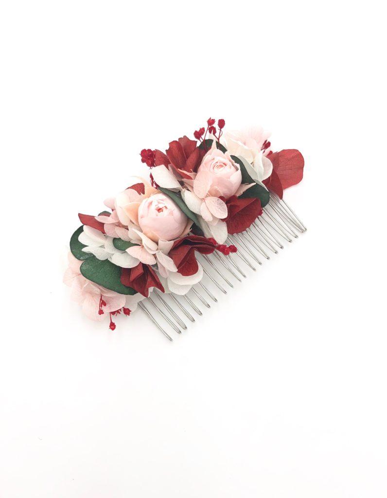Peigne en fleurs stabilisées et eucalyptus Arabesque - Boutons de rose stabilisés