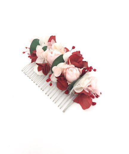 Peigne en fleurs stabilisées rose et bordeaux Arabesque - Rouge et vert
