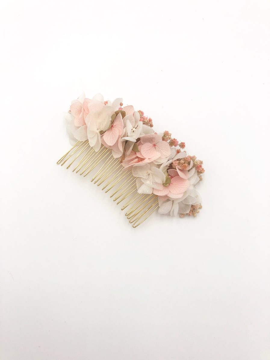 Peigne en fleurs stabilisées roses Candi doré - Tons rose et doré