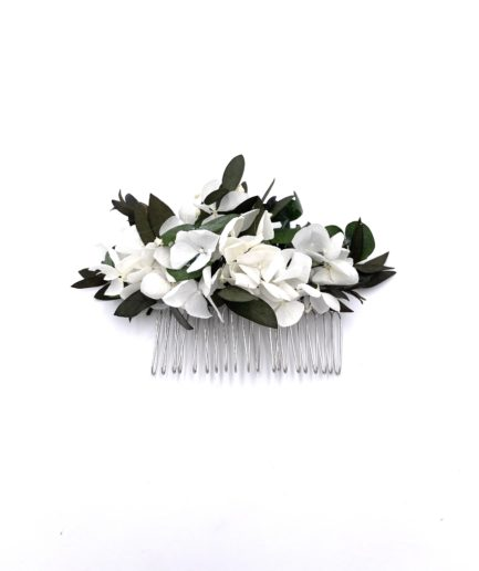 Peigne en fleurs stabilisées Foglia avec eucalyptus