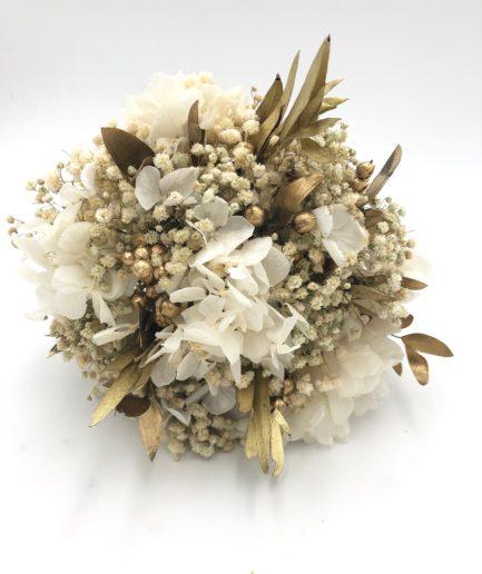 Bouquet de mariée en fleurs stabilisées Ori aux tons or et blanc