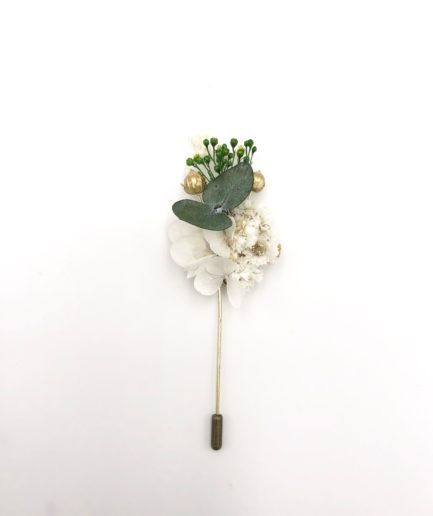 Boutonnière broche Minthé en fleurs séchées