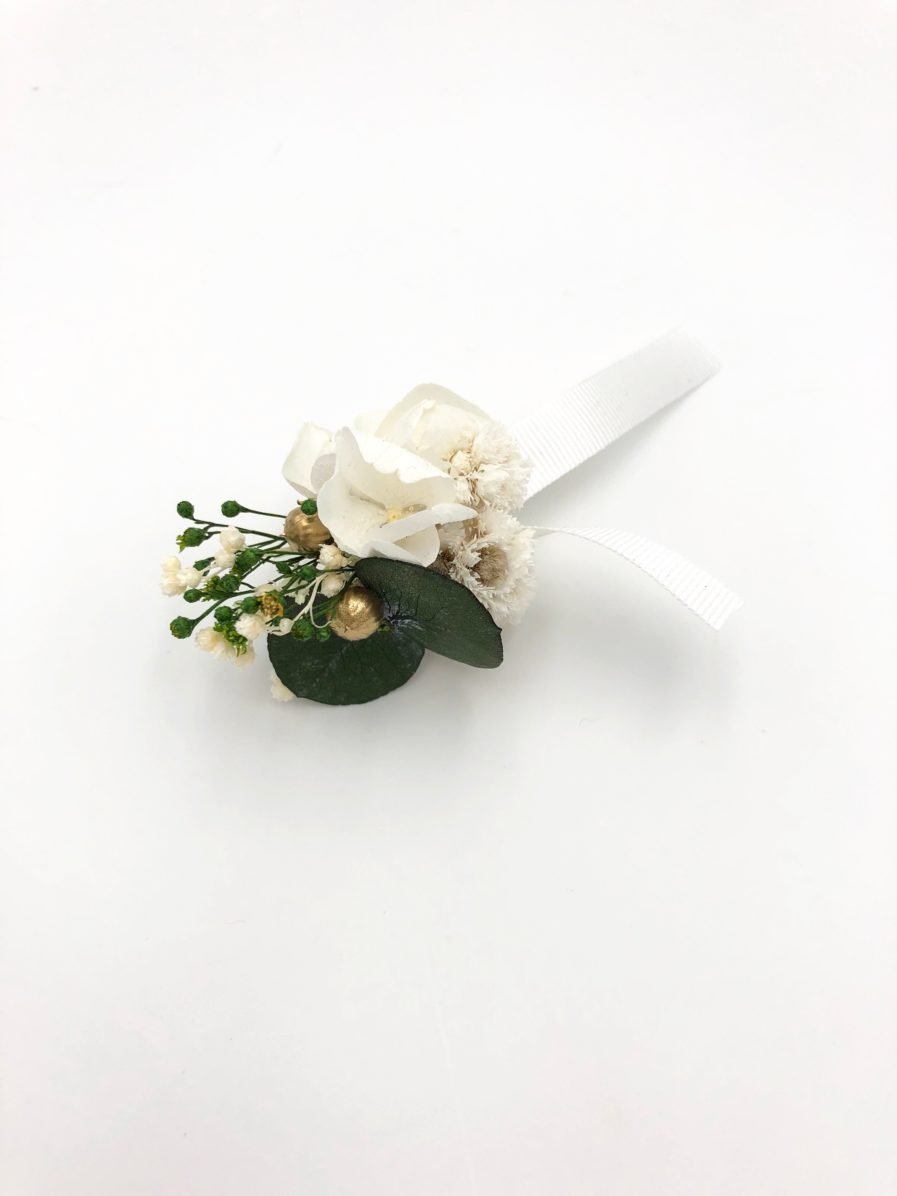 Boutonnière en fleurs stabilisées Minthé - Tons verts et doré