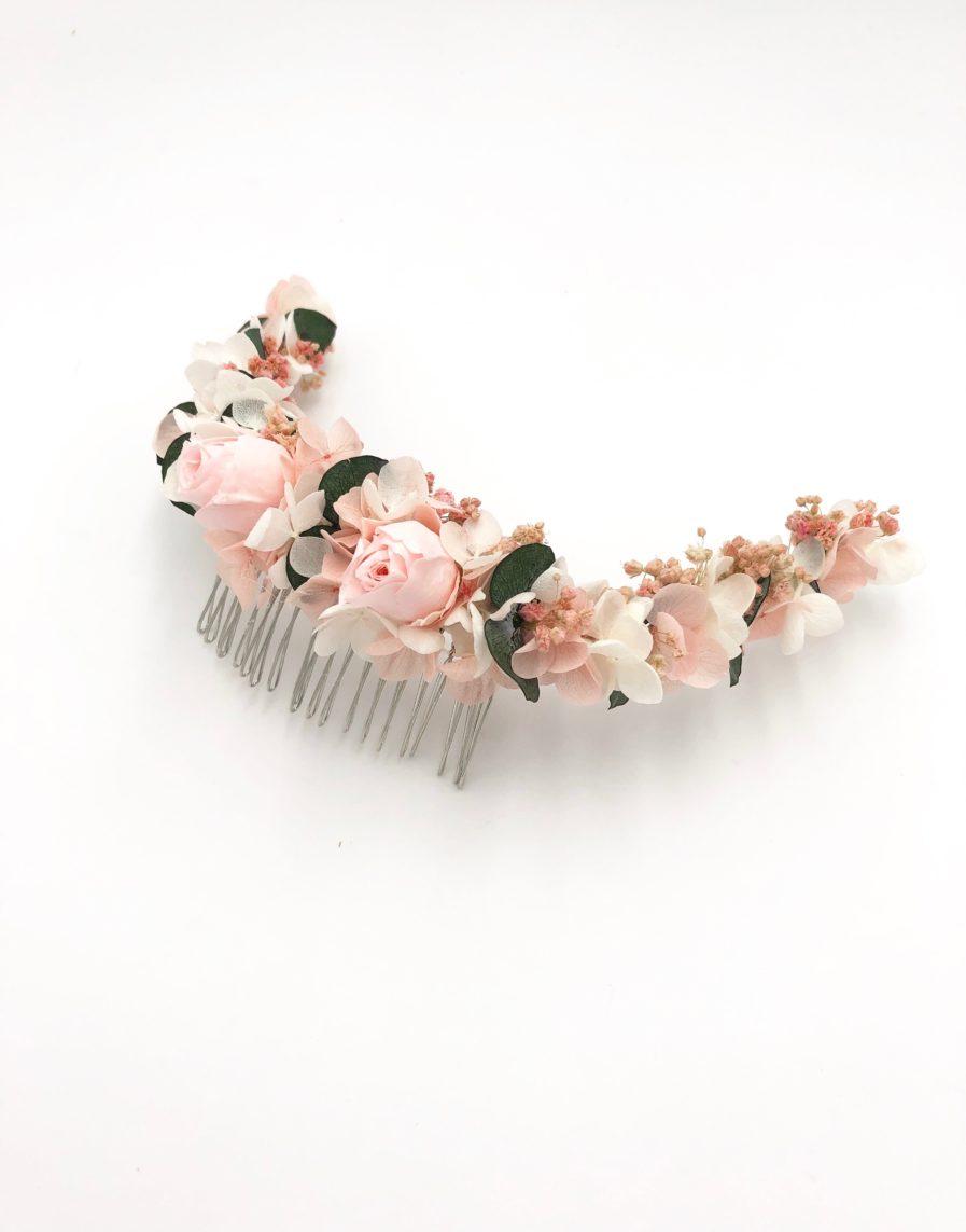 Peigne de mariage en fleurs stabilisées Confetti aux tons rose et vert