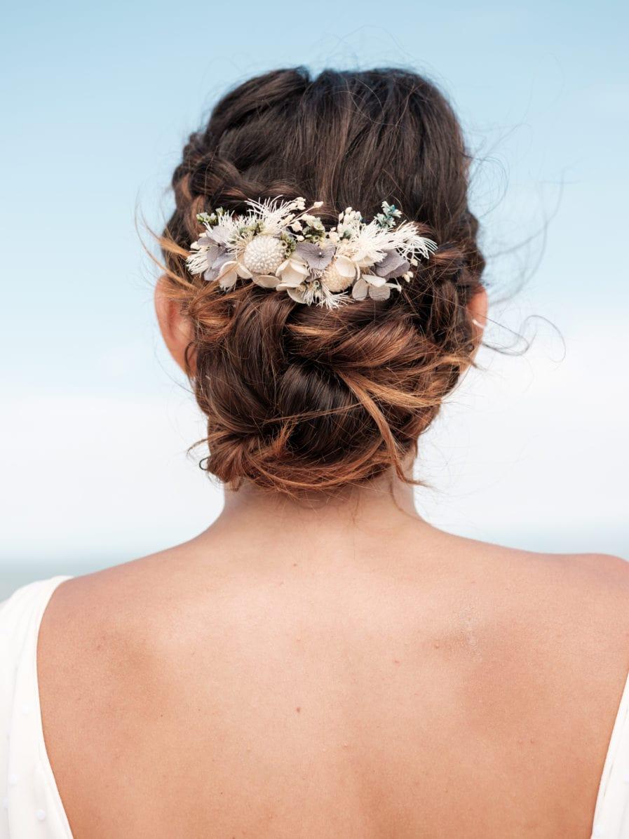 Peigne en fleurs stabilisées Horizon aux tons bleus et blancs