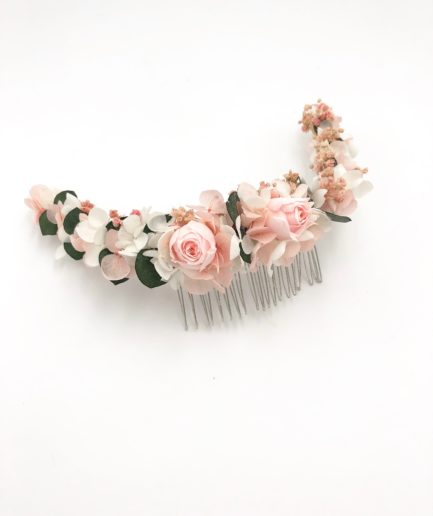 Peigne long Confetti en fleurs stabilisées naturelles pour la mariée romantique