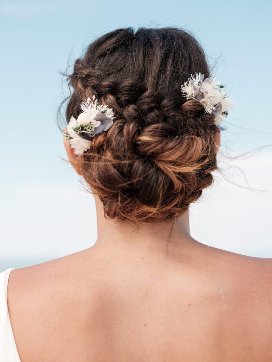 Peigne Mini Duo Horizon en fleurs stabilisées bleues et blanches