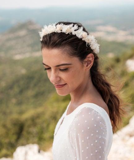 Couronne de fleurs stabilisées Nimbe pour la mariée - Les Fleurs Dupont