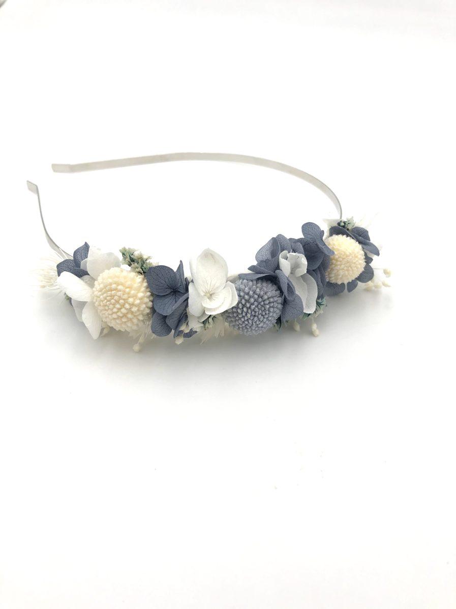 Headband de fleurs stabilisées Horizon pour la mariée