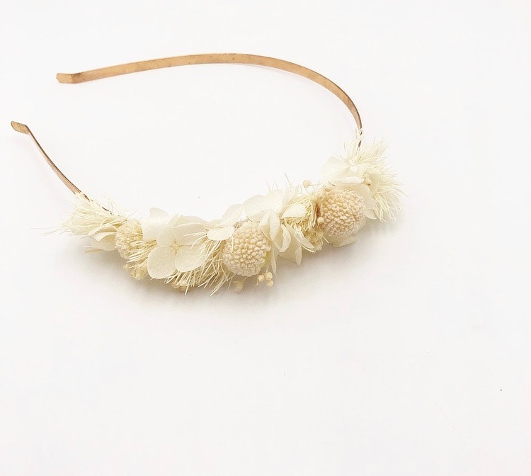 Headband mini Nimbe en fleurs stabilisées blanches