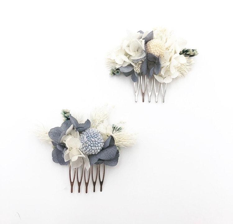 Peigne mini Horizon duo en fleurs stabilisées