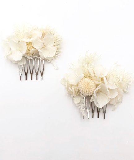 Peigne mini duo Nimbe en fleurs stabilisées blanches