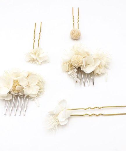 Set peigne et pics Nimbe en fleurs stabilisées