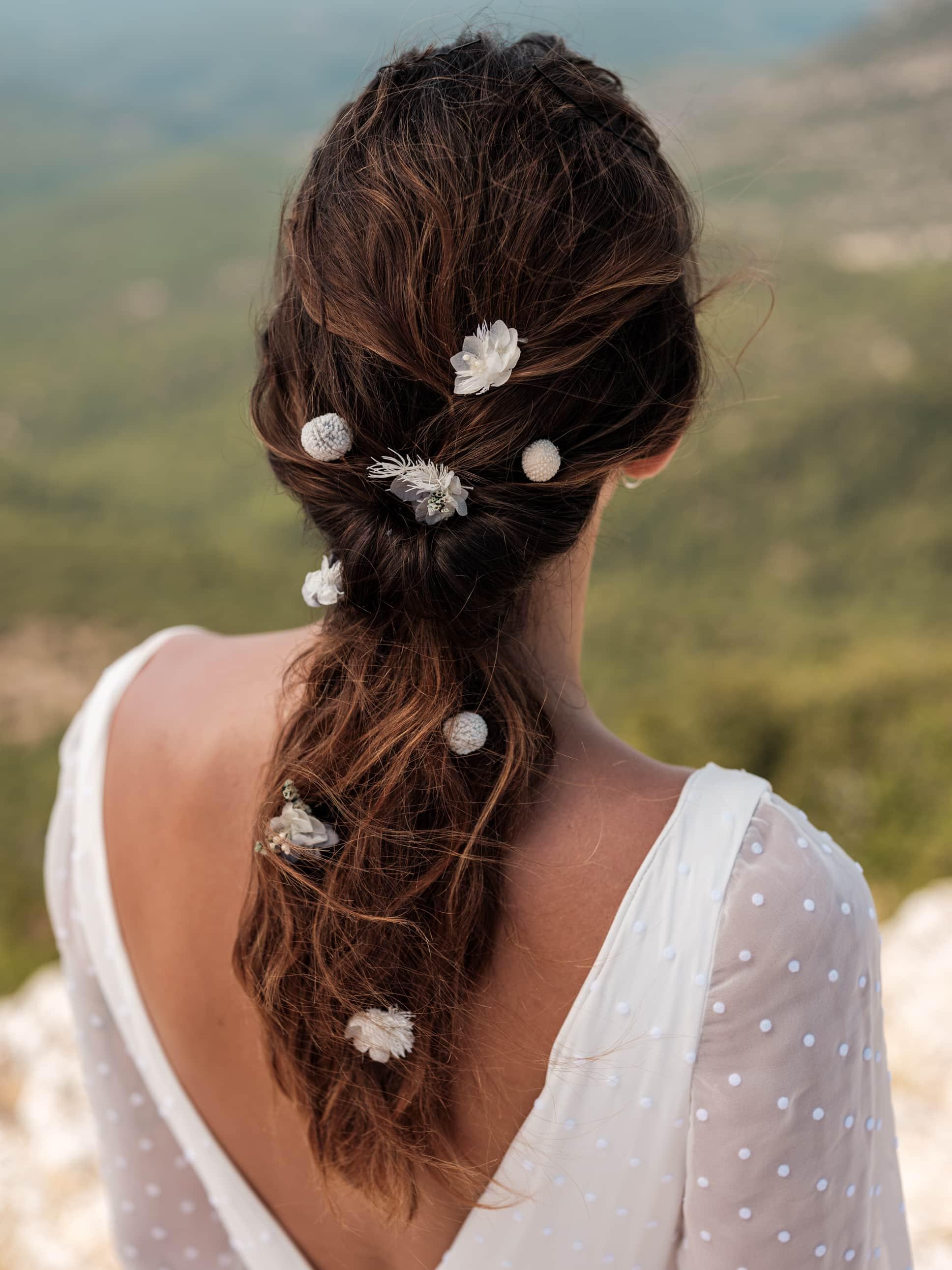 pic à cheveux horizon – craspedia mini blanc