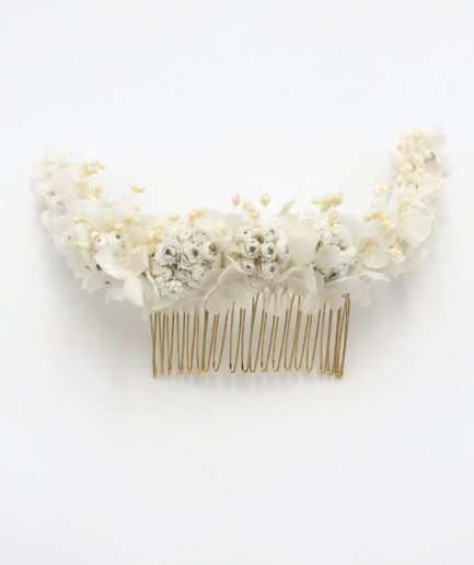 Peigne en fleurs séchées Immortelle long pour la mariée