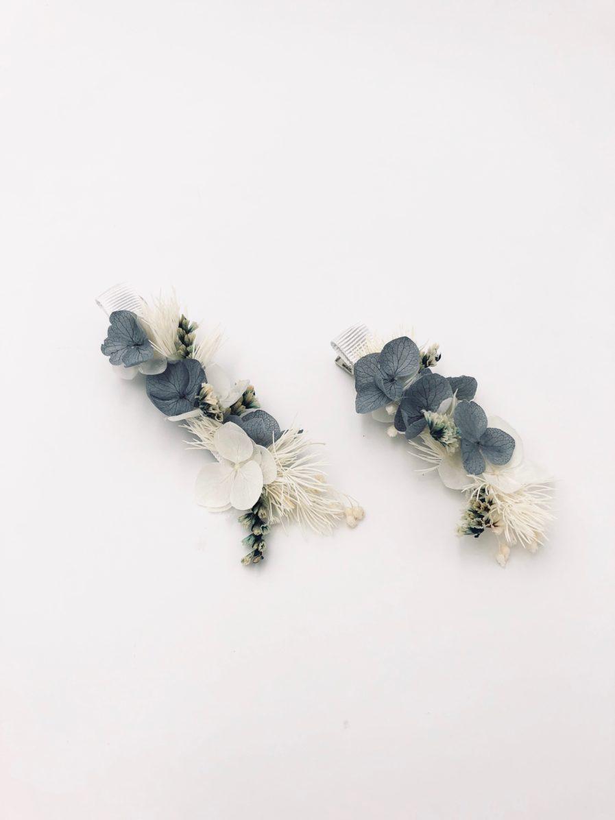 Petite barrette en fleurs pour invitées de mariage de la gamme Horizon