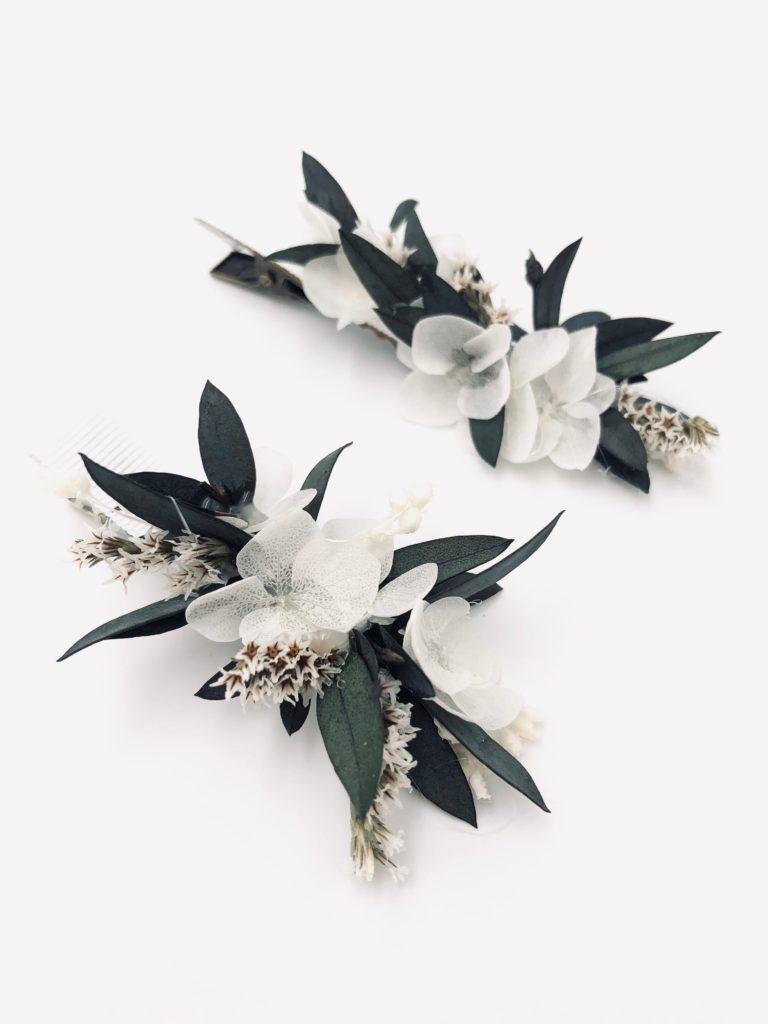 Petite barrette pour demoiselle d'honneur Foglia en fleurs séchées