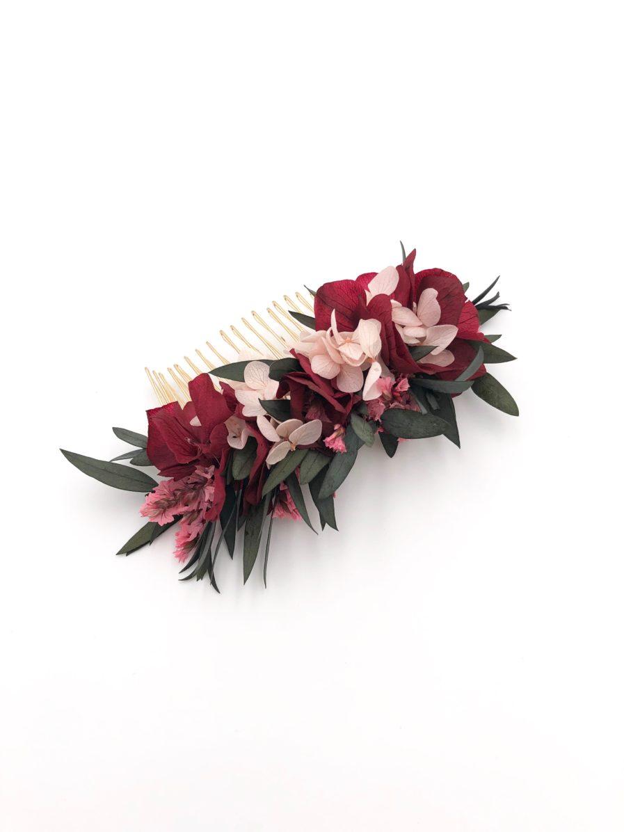 Peigne de fleurs stabilisées bordeaux Carmin pour la mariée