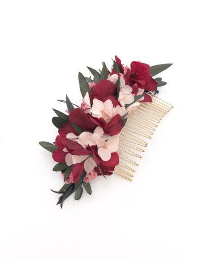 Peigne en fleurs bordeaux pour la mariée Carmin - Collection Couture