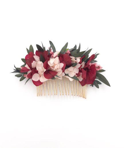 Peigne en fleurs stabilisées Carmin pour la mariée