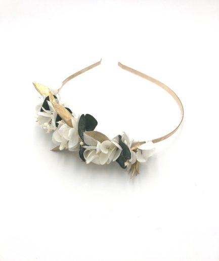 Headband de mariage en fleurs stabilisées Opaline - pour la mariée