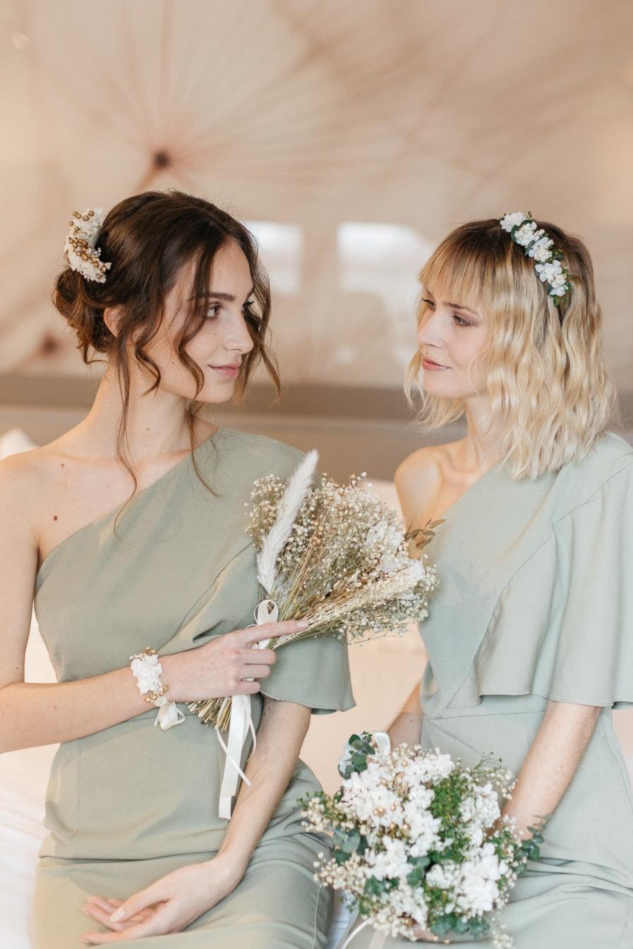 Headband de mariée en fleurs stabilisées Opaline