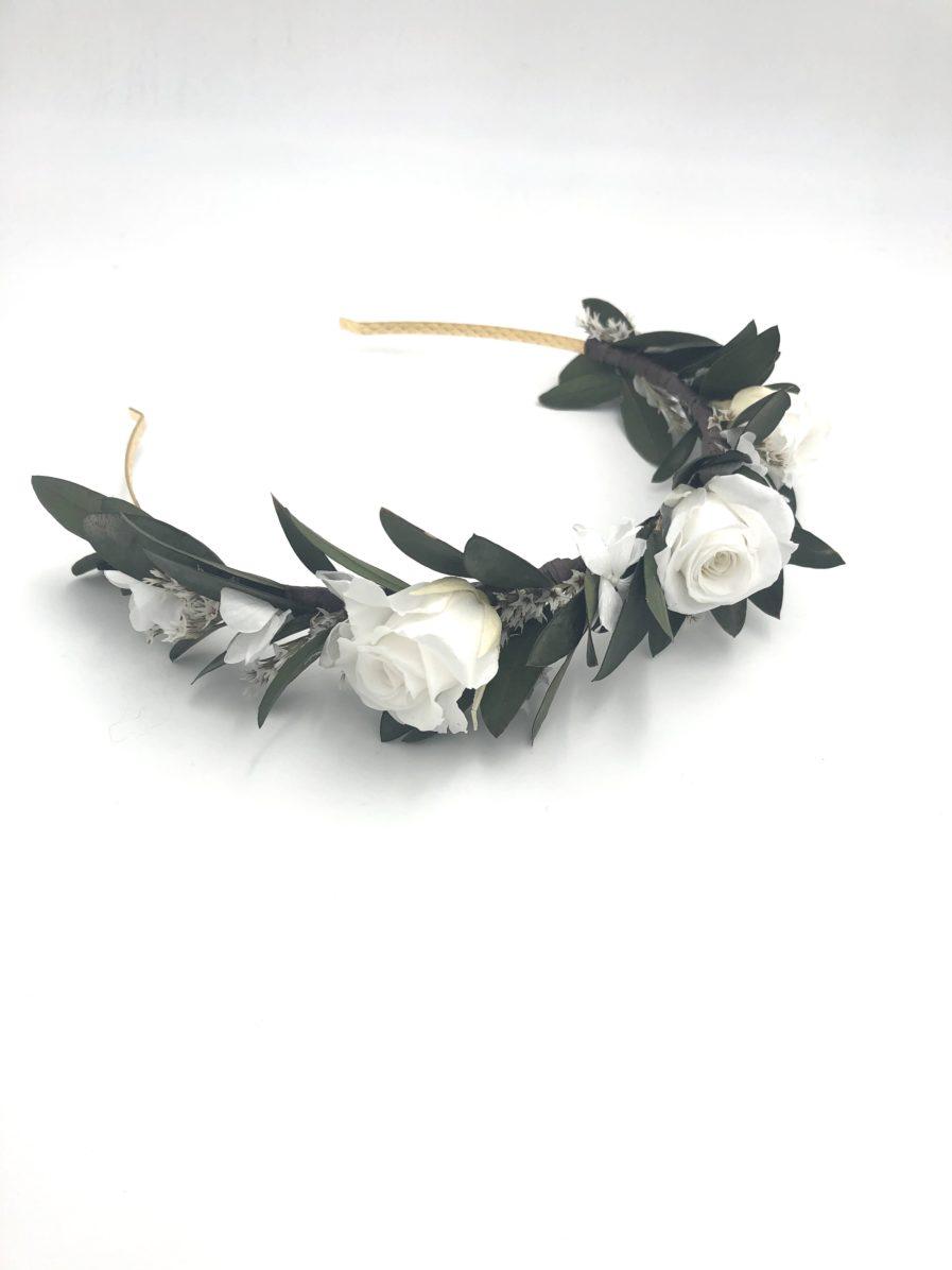 Headband en feuilles stabilisées Elaia pour la mariée
