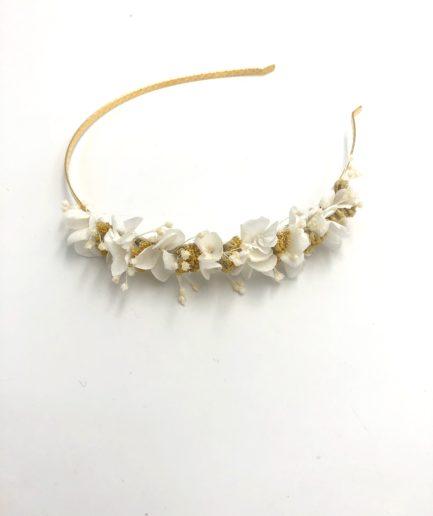 Headband en fleurs séchées Hysope mini pour la mariée