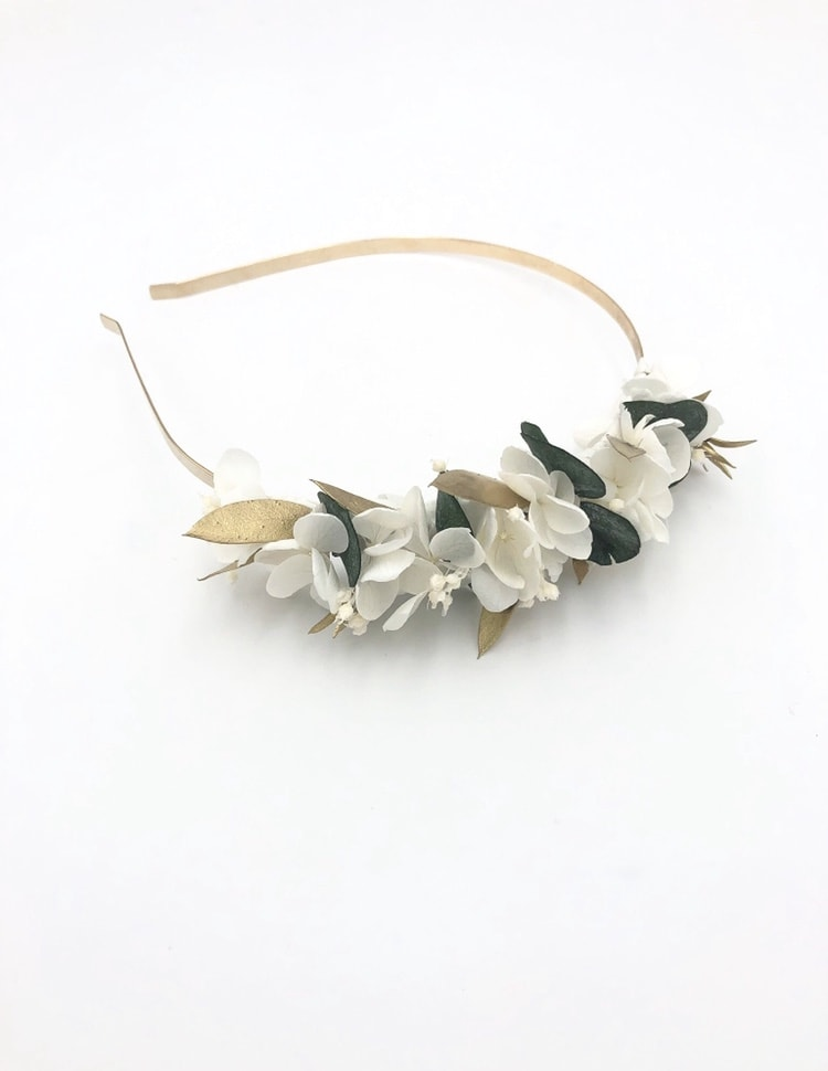 Headband en fleurs stabilisées Opaline - Eucalyptus et feuilles dorées
