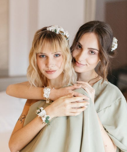 Headband en fleurs stabilisées Opaline