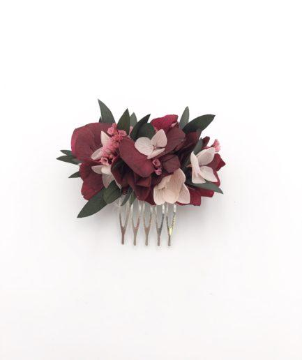 Peigne de mariée Carmin mini en fleurs stabilisées