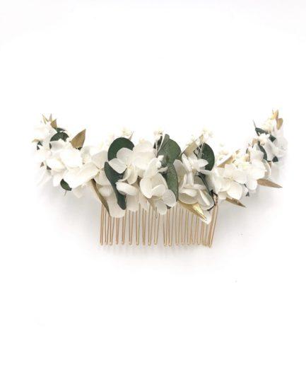 Peigne en fleurs stabilisées Opaline long - Or et végétal