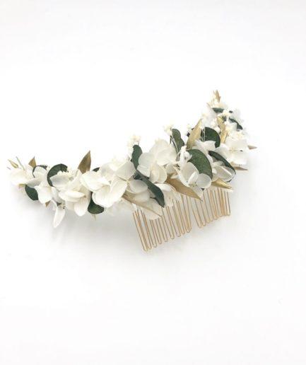 Peigne long Opaline en fleurs stabilisées - Eucalyptus et feuilles dorées