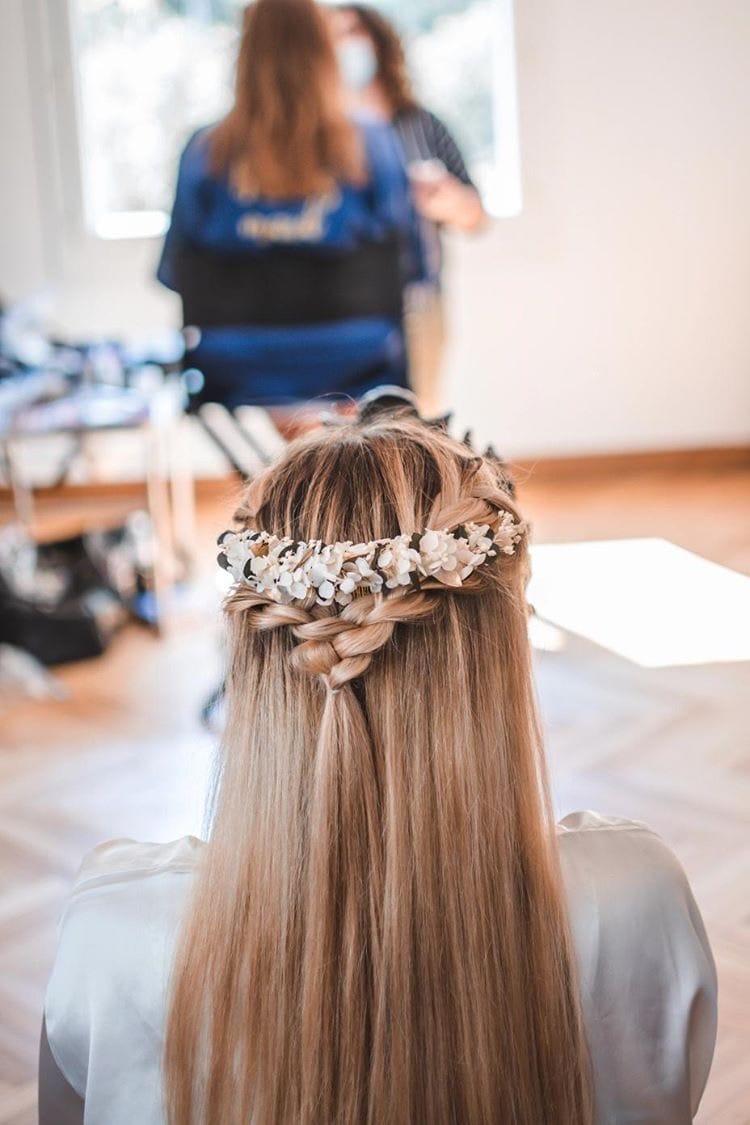 Peigne long Opaline en fleurs stabilisées - mariée Solène