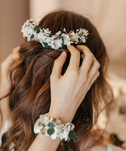 Peigne long en fleurs stabilisées Opaline