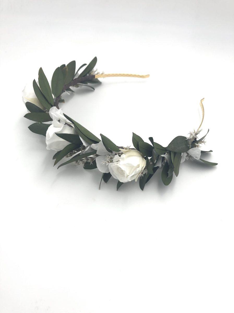 Serre-tête Elaia en feuilles d'olivier stabilisées et roses blanches