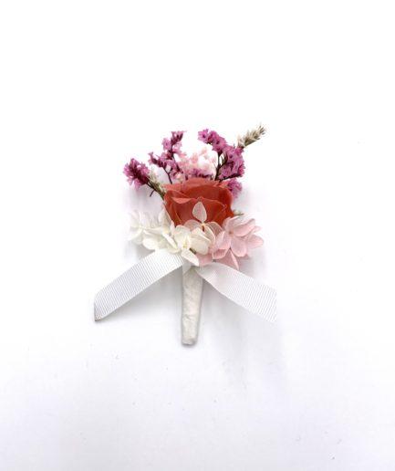 Boutonnière Grenat en fleurs stabilisées
