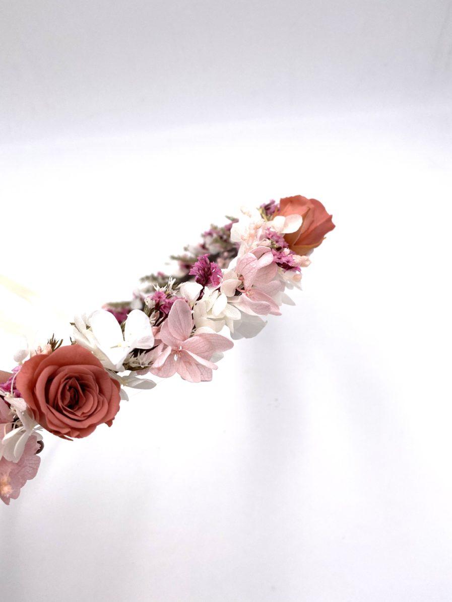 Couronne de fleurs de mariage en fleurs stabilisées Grenat