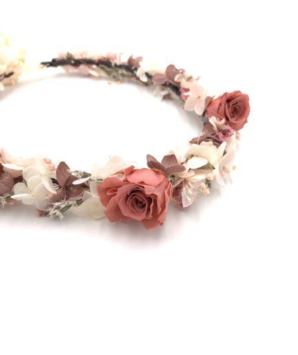 Couronne de fleurs stabilisées Grenat aux tons roses