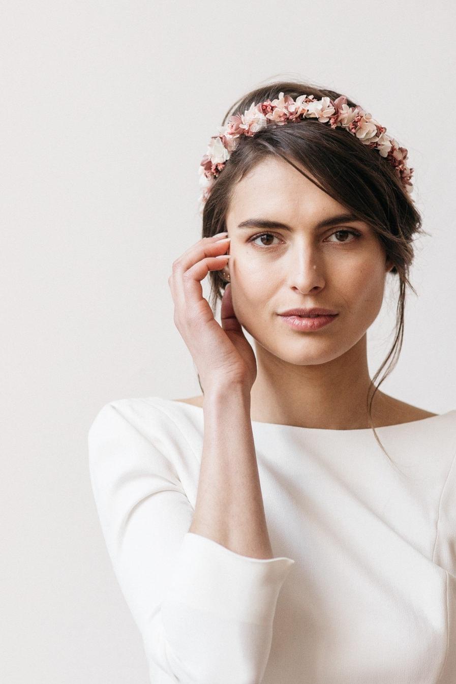 Couronne de fleurs stabilisées Quartz pour la mariée