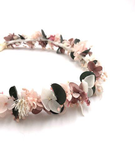 Couronne de fleurs stabilisées Tourmaline pour la mariée romantique