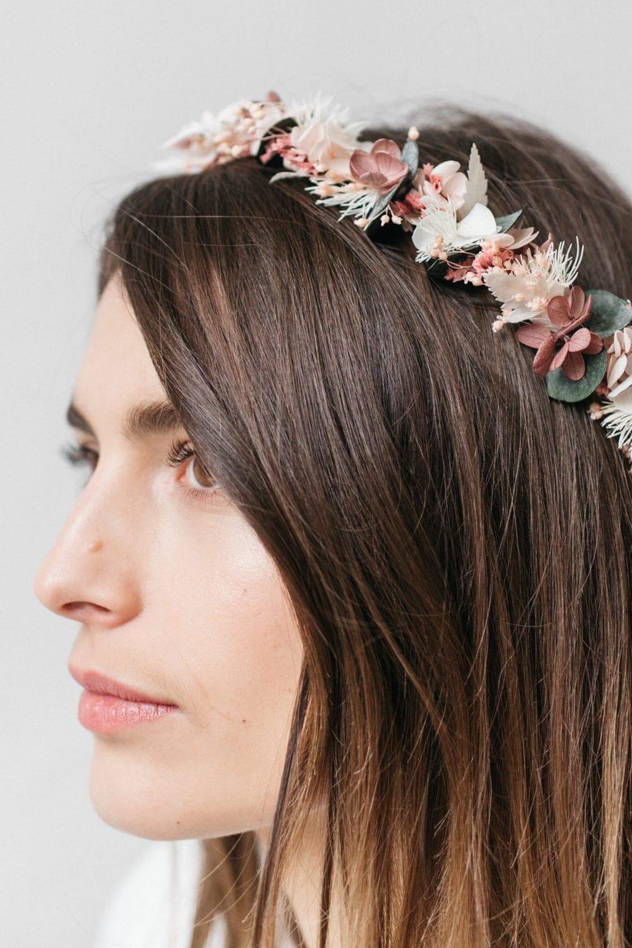 Couronne de fleurs stabilisées Tourmaline pour la mariée