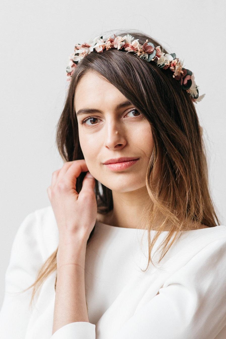 Couronne de mariage en fleurs Tourmaline pour la mariée moderne