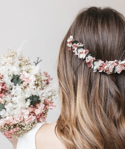 Demie couronne de fleurs Tourmaline pour la mariée