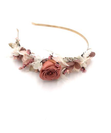 Headband de mariée Grenat en fleurs stabilisées