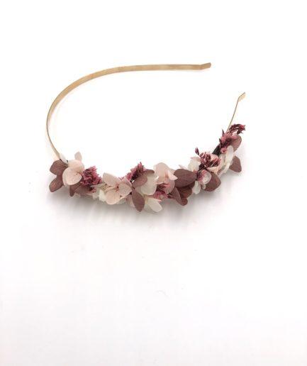 Headband en fleurs stabilisées Quartz pour la mariée