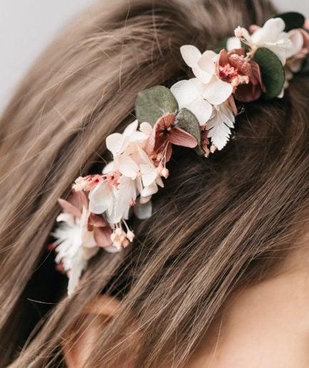 Headband en fleurs stabilisées Tourmaline pour la mariée