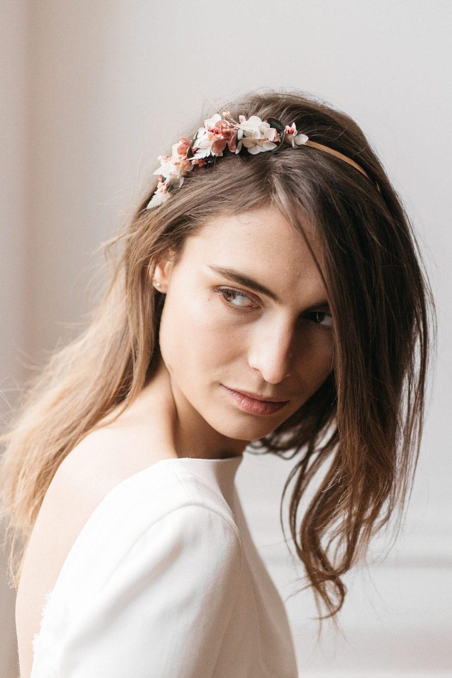 Headband en fleurs stabilisées Tourmaline pour le mariage